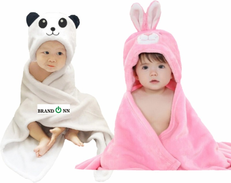 BRANDONN Pink, White Free Size Bath Robe(2 Bath Robes, For: Baby Boys & Baby Girls, Pink, White)