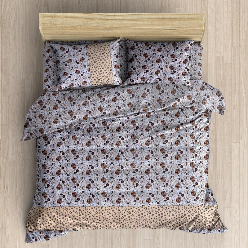 The Intellect Bazaar 152 TC Cotton Double King Printed Bedsheet(Pack of 1, Brown)