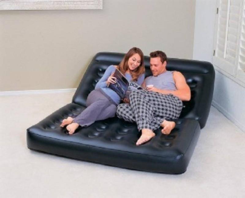 Unique Gadget Velvet 2 Seater Inflatable Sofa(Color - Black)