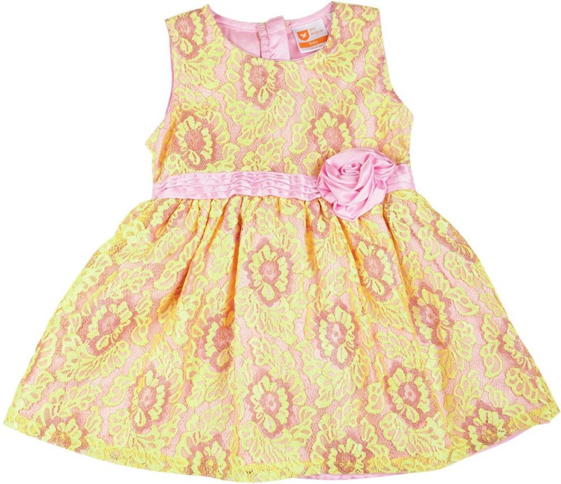 612 League Girls Midi/Knee Length Casual Dress(Yellow, Sleeveless)