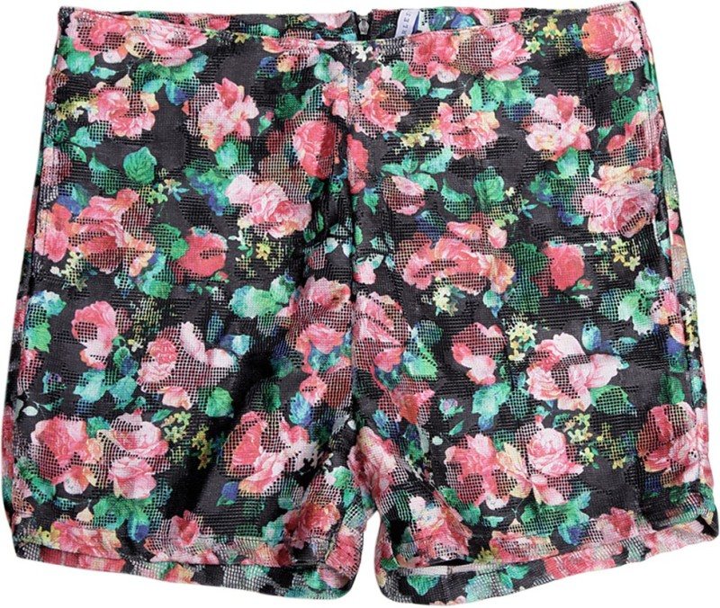 612 League Short For Girls Casual Floral Print Polyester(Black, Pack of 1)