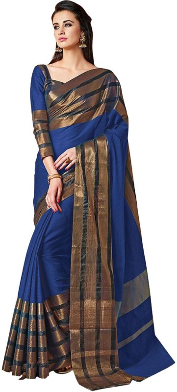 BAPS Striped Bollywood Cotton Silk Saree(Multicolor)