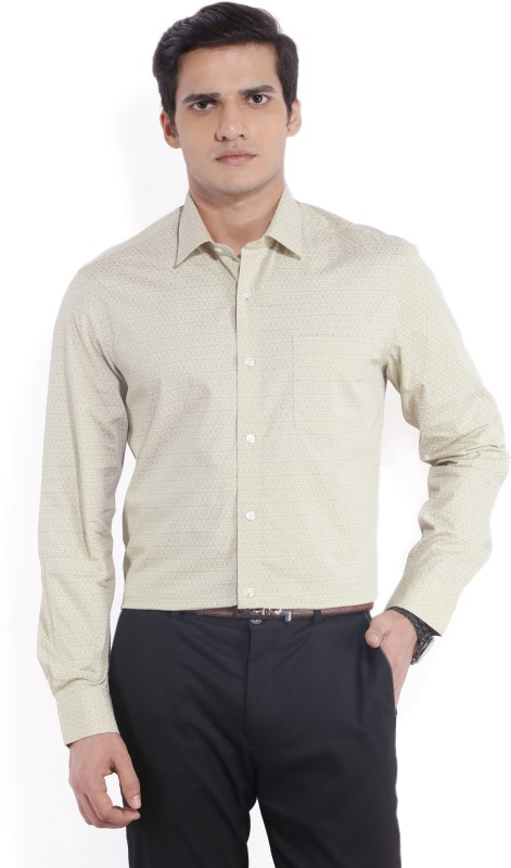Arrow Mens Printed Formal Beige Shirt