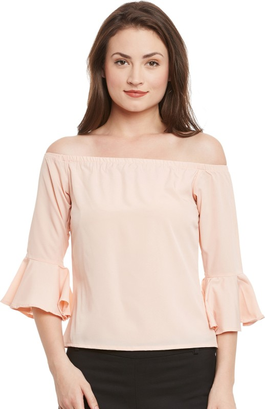 Popnetic Casual 3/4th Sleeve Solid Women's Pink Top