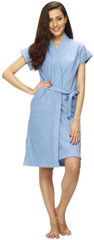Vixenwrap Sky Blue Free Size Bath Robe(1 Bath Robe, 1 Belt, For: Women, Sky Blue)
