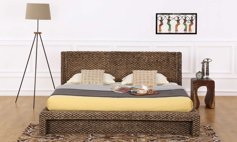 Furnspace Sere Bed Solid Wood King Bed(Finish Color - Choco Water Hyacinth)