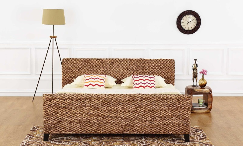 Furnspace Urbane Bed Solid Wood King Bed(Finish Color - Natural Water Hyacinth)