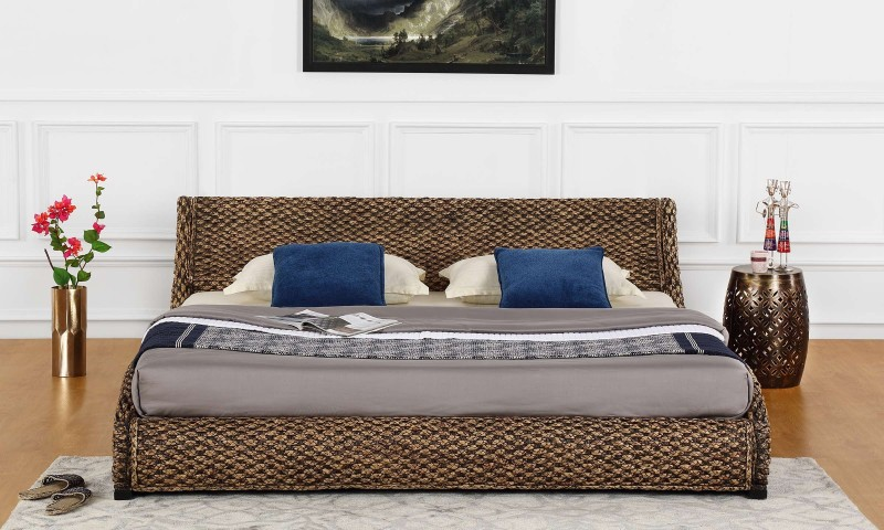 Furnspace Chic Bed Solid Wood King Bed(Finish Color - Choco Water Hyacinth)