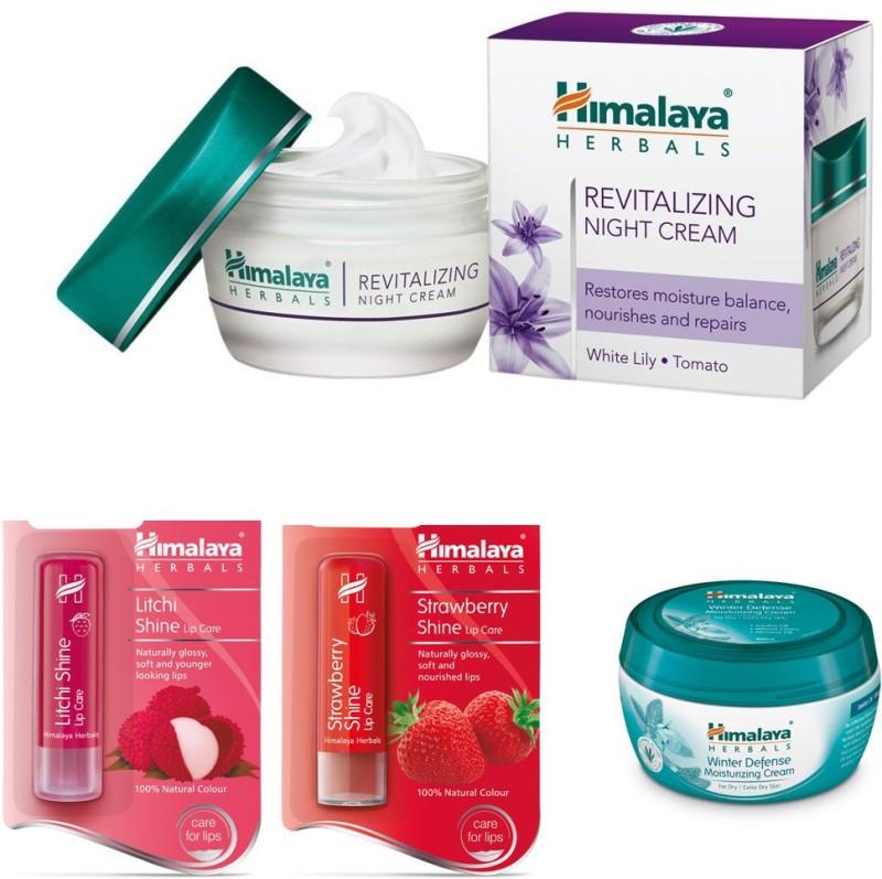 Himalaya Revitalizing Night Cream, Litchi Shine Lip Care, Strawberry Shine Lip Care(Items in the set)
