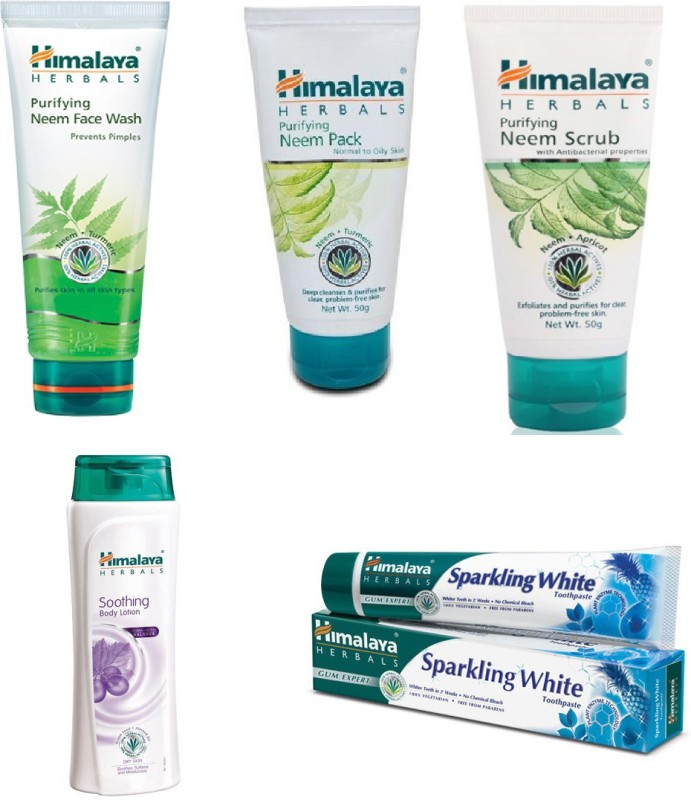 Himalaya neem face wash, neem pack, neem scrub, body lotion, paste(Items in the set)