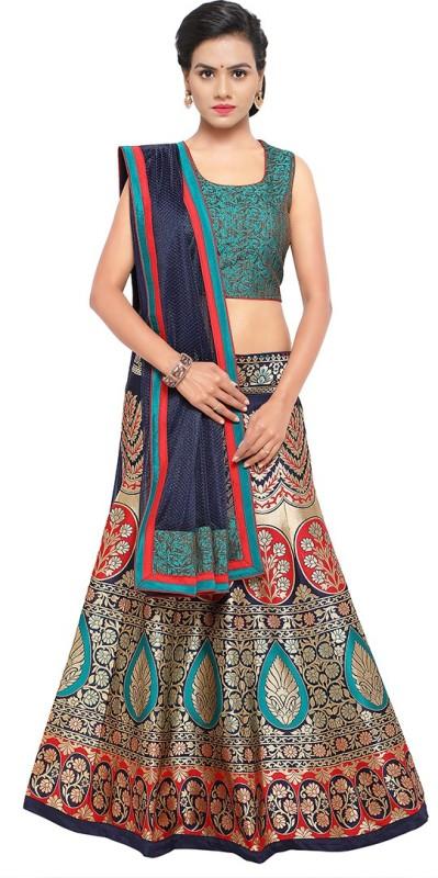 Styles Closet Silk Woven Semi-stitched Lehenga Choli Material