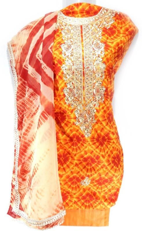 Lattice Cotton Embroidered Salwar Suit Dupatta Material(Un-stitched)