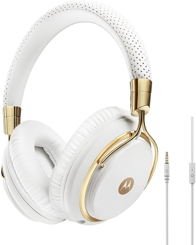 Motorola Pulse M Series Headset with Mic(White And Gold, Over the Ear)
