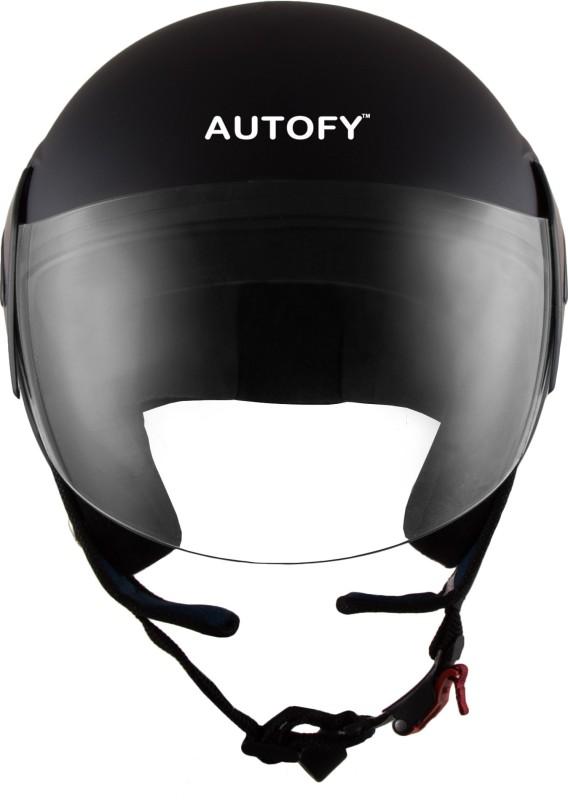 Autofy Habsolite-Estilo With Scratch Resistant Retractable Visor Motorbike, Motorsports Helmet(Matte Black)