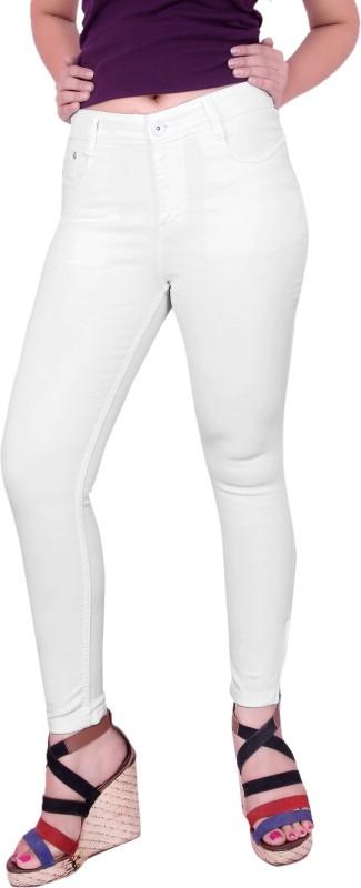 Fck-3 Fck-3 High Waist Ankle Fit Jeans Pant for Women Regular Women White Jeans