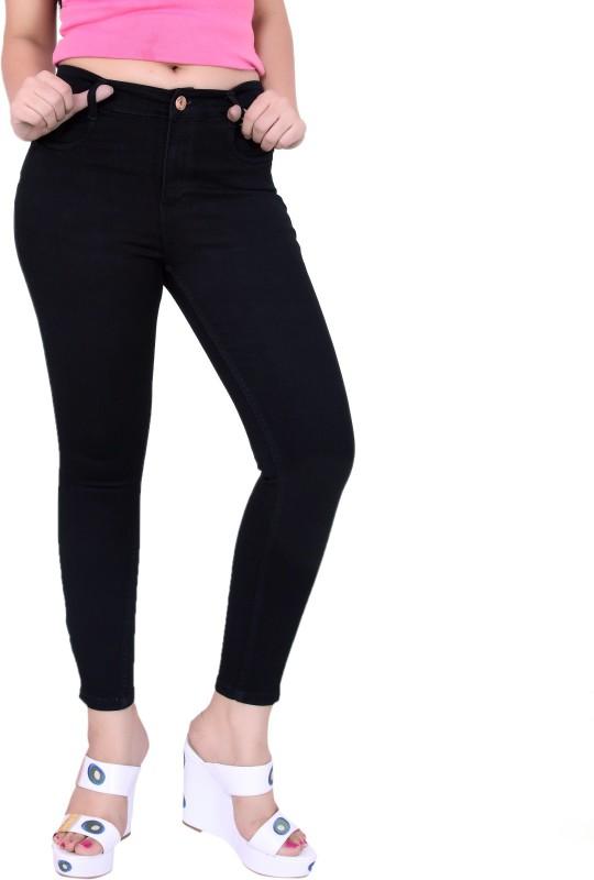 Fck-3 Fck-3 High Waist Ankle Fit Jeans Pant for Women Regular Women Black Jeans