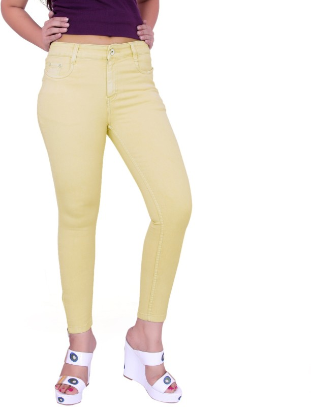 Fck-3 Fck-3 High Waist Ankle Fit Jeans Pant for Women Regular Women Beige Jeans