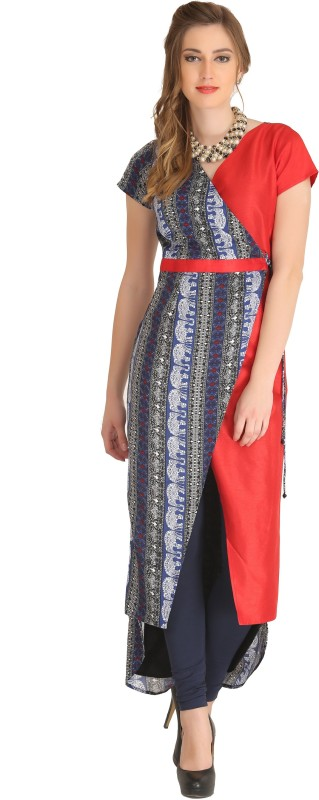 Raas Printed Women Straight Kurta(Dark Blue, Red)