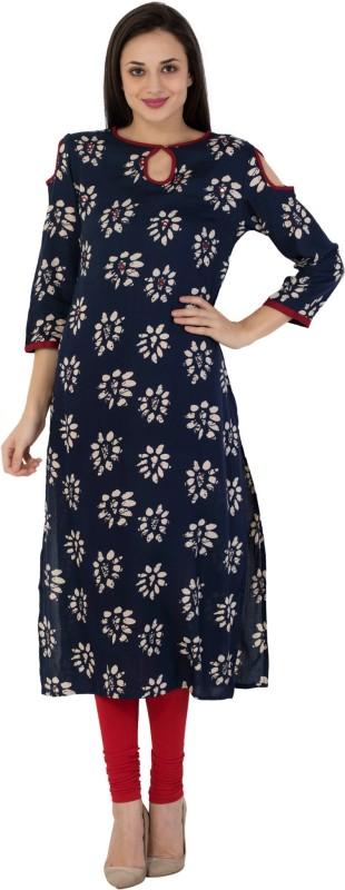 Vasudha Casual Printed Women Kurti(Dark Blue)