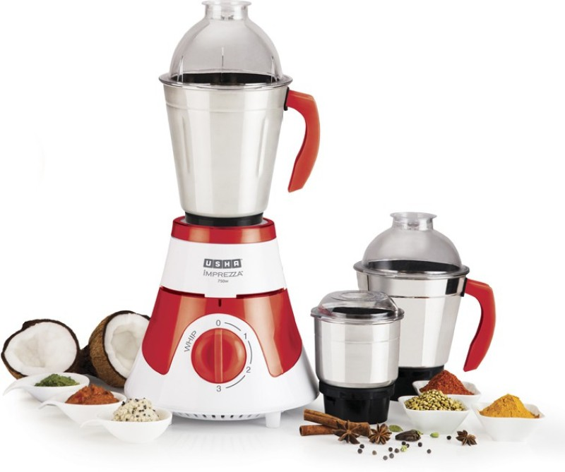 Usha MG 3576 Imprezza 750 W Mixer Grinder(White, Red, 3 Jars)