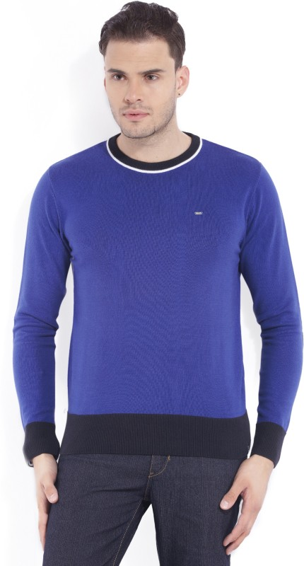 Lee Solid Round Neck Casual Mens Blue Sweater