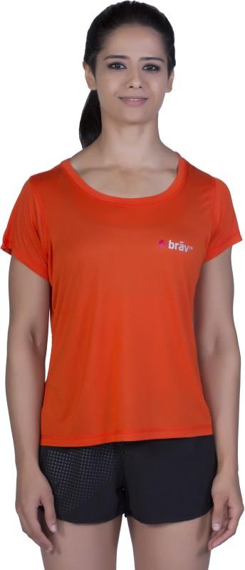 Brav Solid Women Round Neck Red T-Shirt