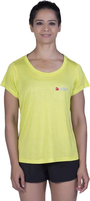 Brav Solid Women Round Neck Yellow T-Shirt