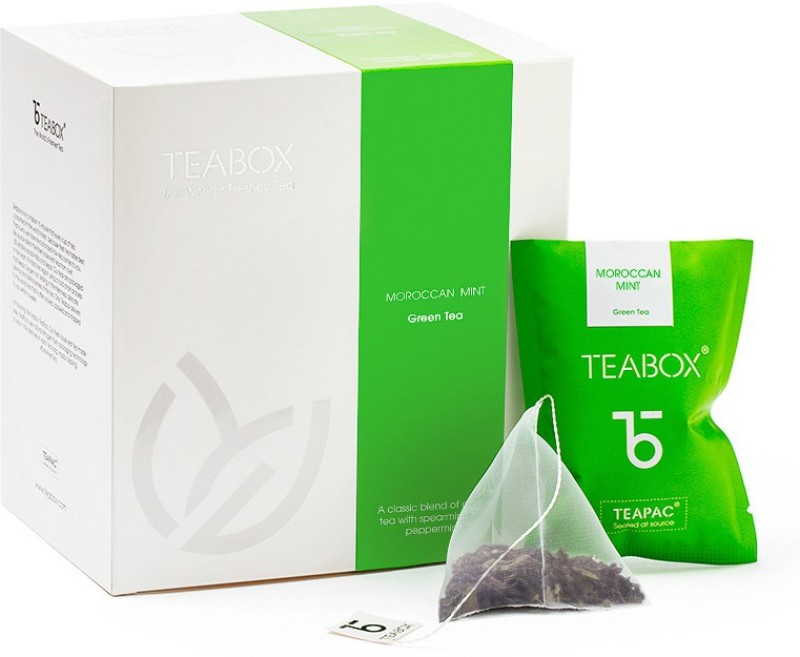 Teabox Moroccan Mint Nitrogen-flushed Teabag Mint, Peppermint Green Tea Bags(16 Bags, Box)