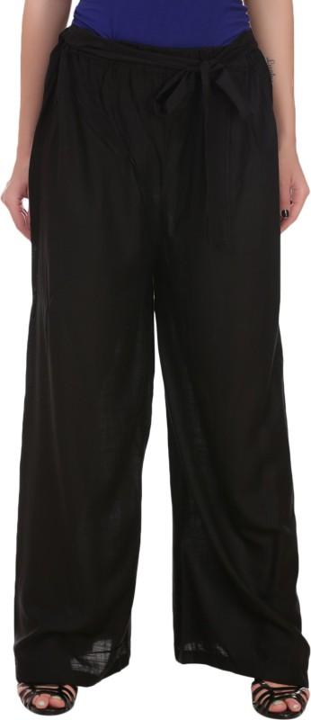 Myshka Regular Fit Womens Black Trousers