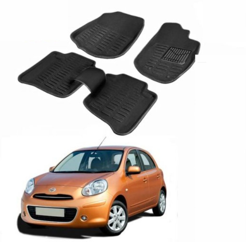 A K Traders Plastic Standard Mat For Nissan Micra(Black)
