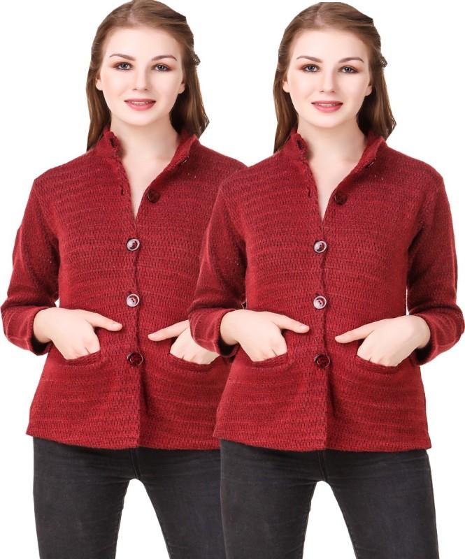 Kritika World Womens Button Self Design Cardigan