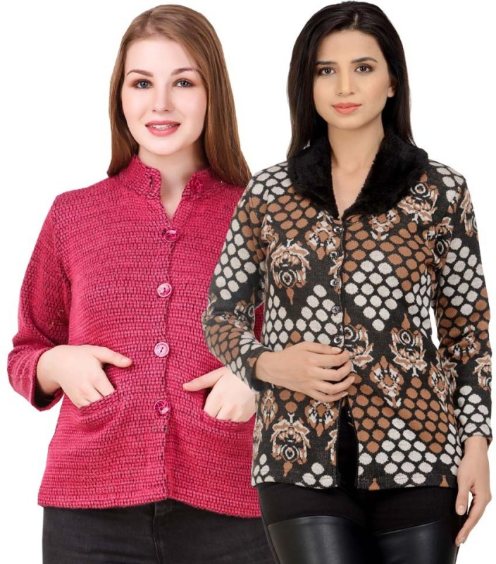 Kritika World Womens Button Self Design Cardigan
