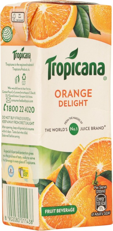 Tropicana Orange Delight Fruit Beverage 200 ml