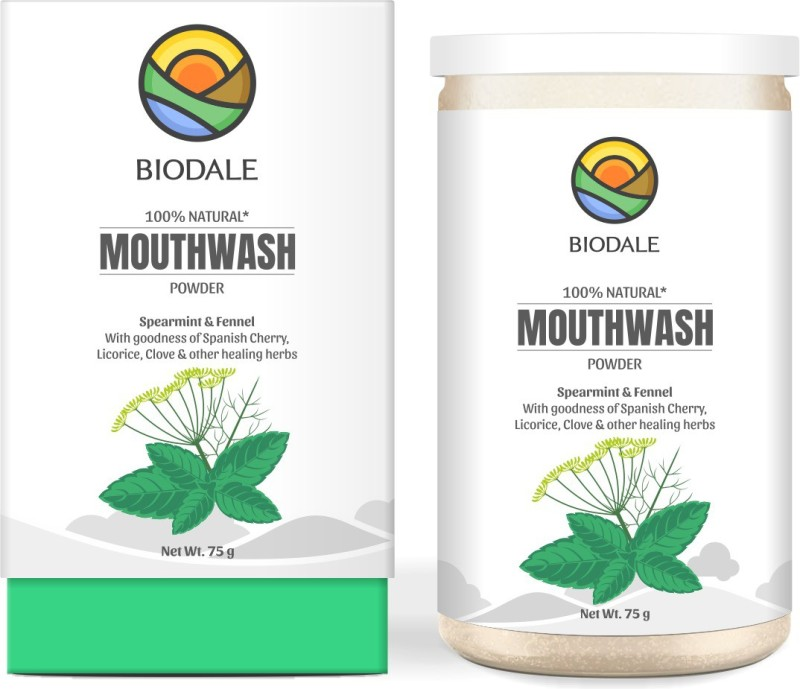 BIODALE 100% Natural Mouth Wash Powder - Spearmint & Fennel(75 g)