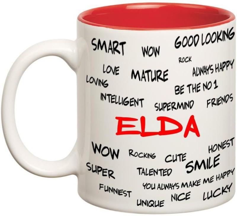 Huppme Good Personality Elda Inner Red Ceramic Mug(350 ml)
