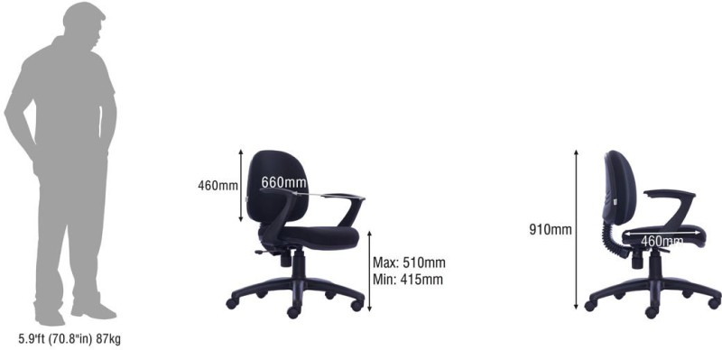 Durian Astro-Lb Fabric Office Arm Chair(Black)