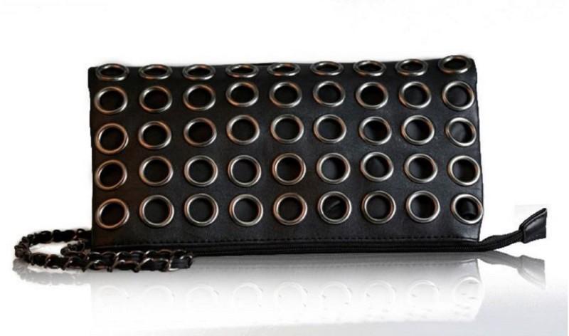 Un Branded Handbag Famous Brand Retro Rivet Tote Bag Lady Wallet Clutch Purse Pouch(Black)