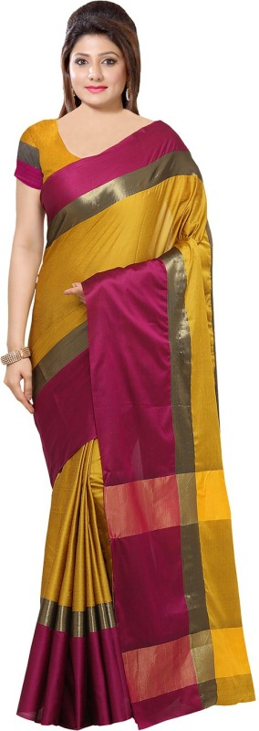Divastri Printed, Striped Fashion Art Silk Saree(Yellow, Pink)