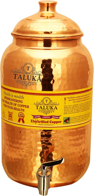 Taluka Best Quality Handmade Pure Copper Water Stoarge pot tank with Tap 8000 ML for Easy and Healthy Water Storage Home, Kitchen, Restaurant Hotel Yoga Ayurveda Benefits T-WPP8L 8000 L Drum(Copper, Pack of 1)