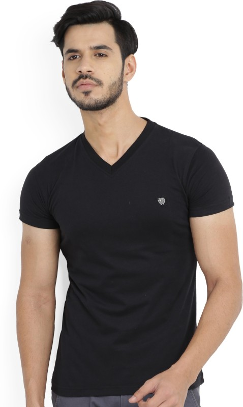 John Players Solid Mens V-neck Black T-Shirt