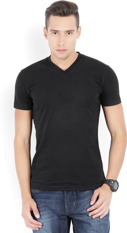 John Players Solid Mens V-neck Black T-Shirt