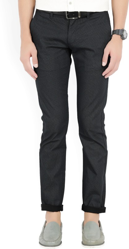 Flying Machine Slim Fit Men's Black Trousers