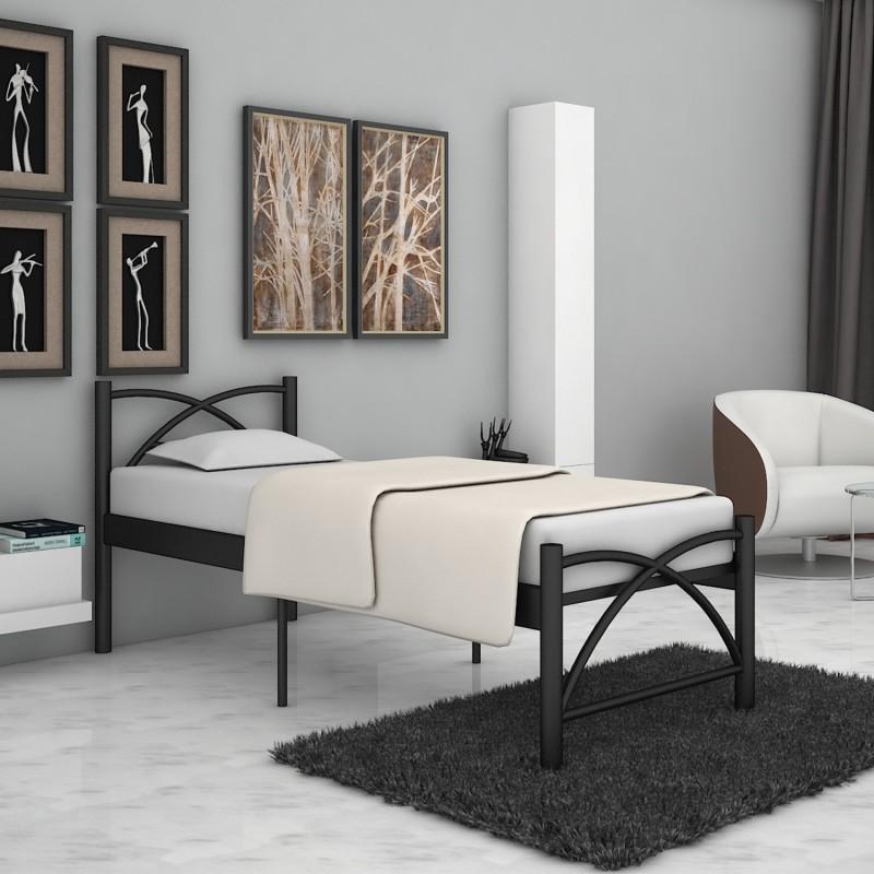 FurnitureKraft Berlin Metal Single Bed(Finish Color -  Black)