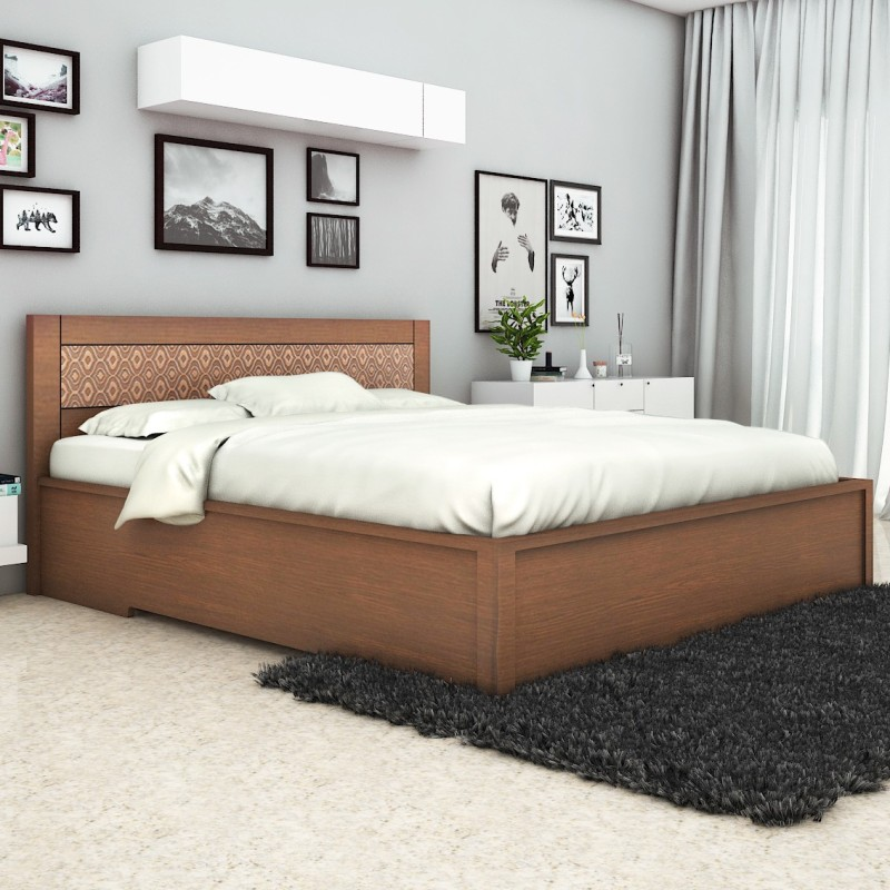 HomeTown Nebula Engineered Wood King Bed With Storage(Finish Color - Coffee Brown)