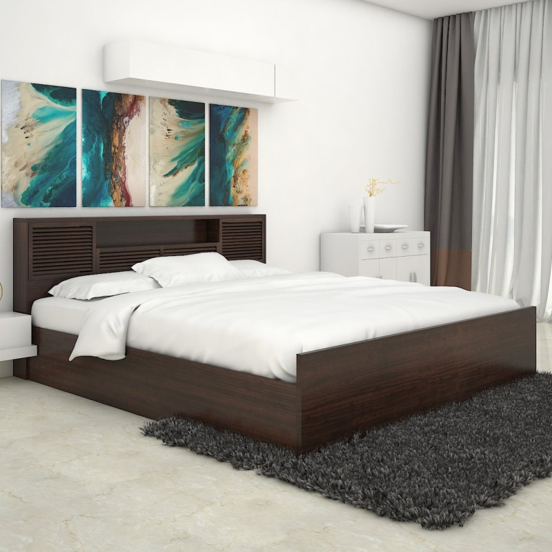 HomeTown Bali Bolton Engineered Wood King Bed With Storage(Finish Color -  Wenge)