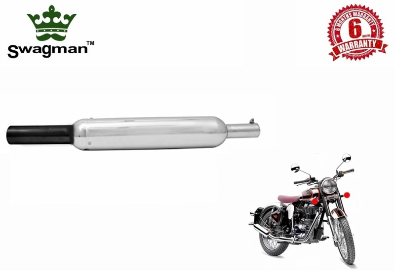 Swagman Basic-Bassy Chrome with Black Tip Exhaust Royal Enfield Classic 350 Full Exhaust System(Stainless Steel)