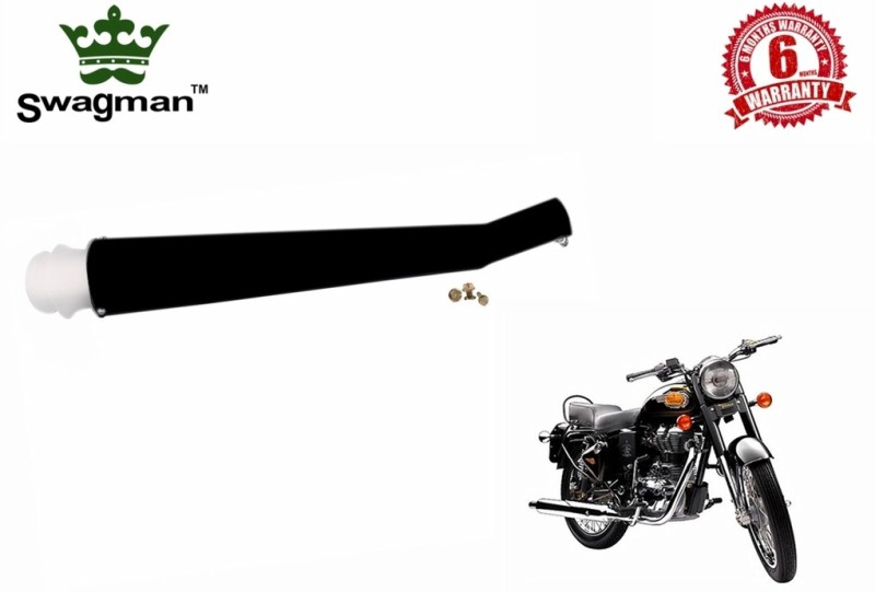 Swagman Taj Launcher Black with Chrome Tip Exhaust Royal Enfield 500 Full Exhaust System(Stainless Steel)