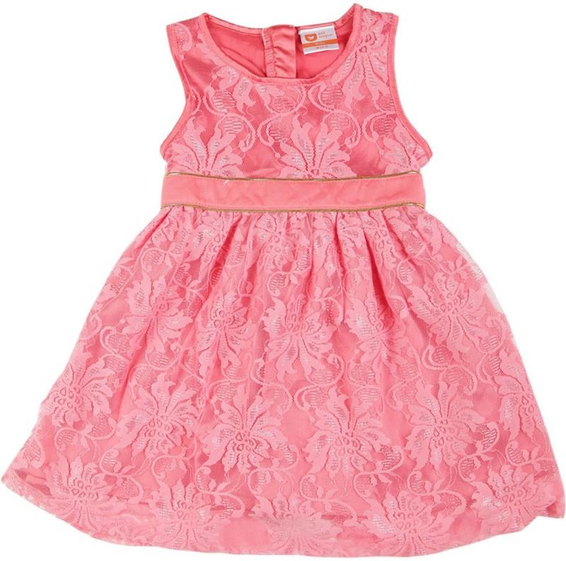 612 League Girls Midi/Knee Length Casual Dress(Pink, Sleeveless)