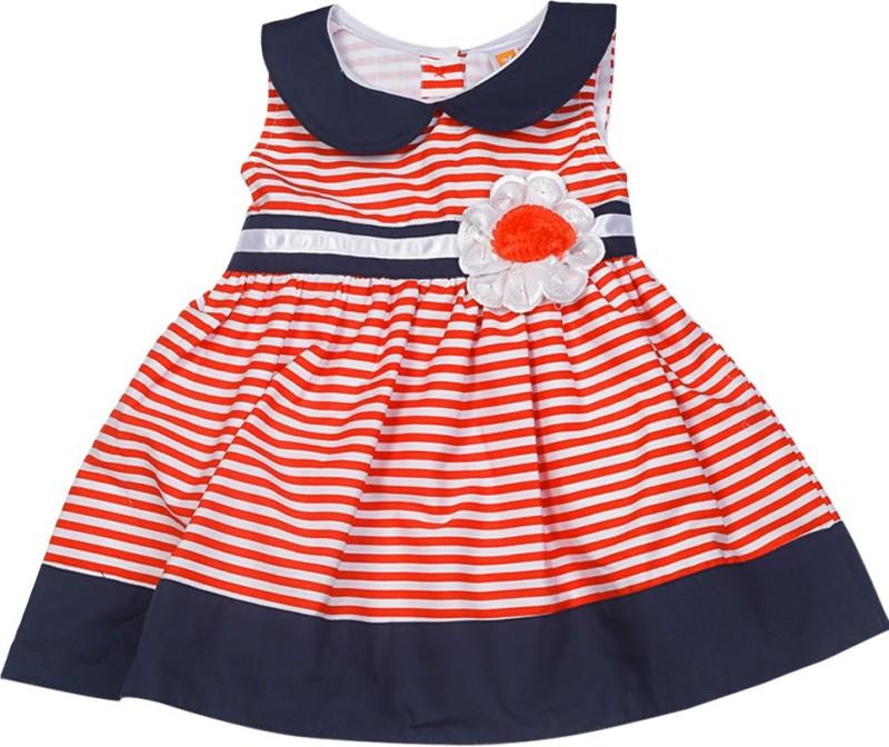612 League Girls Midi/Knee Length Casual Dress(Red, Sleeveless)