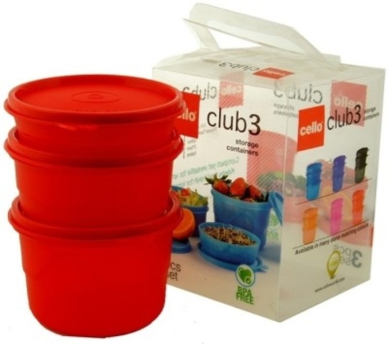 Cello club 3 3 Containers Lunch Box(550 ml)